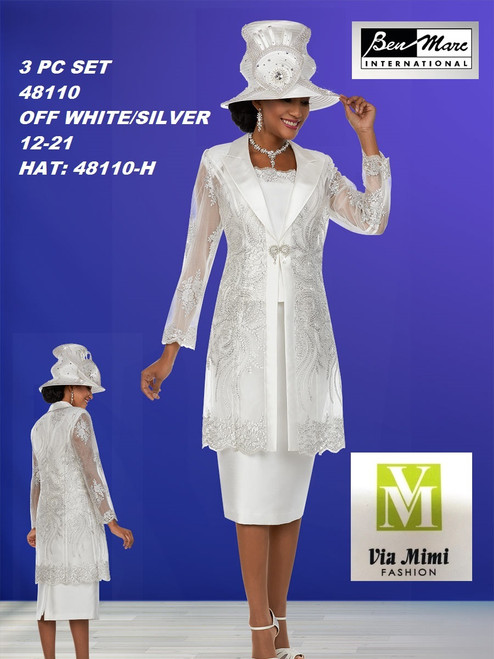 BEN MARC STYLE #48110  3 PC SET  COLOR: OFF-WHITE/SILVER  SIZE : 12-24  HAT: 48110-H  FOR MORE IMFORMATION AND PRICE PLEASE GIVE US A CALL   WE BEAT  ALL PRICES !!!!  VIA MIMI FASHION  1333 S. SANTEE ST.  LA,CA.90015  TEL: (213)748-MIMI (6464)  FAX: (213)749-MIMI (6464)  E-Mail: mimi@viamimifashion.com  http://viamimifashion.com  https://www.facebook.com/viamimifashion    https://www.instagram.com/viamimifashion  https://twitter.com/viamimifashion