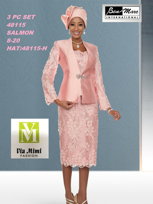 BEN MARC STYLE #48115  3 PC SET  COLOR: SALMON  SIZE : 8-20  HAT: 48115-H  FOR MORE IMFORMATION AND PRICE PLEASE GIVE US A CALL   WE BEAT  ALL PRICES !!!!  VIA MIMI FASHION  1333 S. SANTEE ST.  LA,CA.90015  TEL: (213)748-MIMI (6464)  FAX: (213)749-MIMI (6464)  E-Mail: mimi@viamimifashion.com  http://viamimifashion.com  https://www.facebook.com/viamimifashion    https://www.instagram.com/viamimifashion  https://twitter.com/viamimifashion