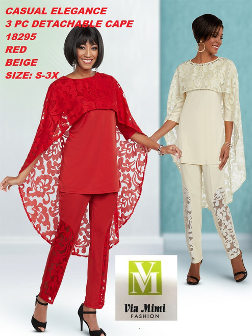 CASUAL ELEGANCE  STYLE #18295  3 PC DETACHABLE CAPE  COLOR: RED, BEIGE  SIZE: S-3X  FOR MORE IMFORMATION AND PRICE PLEASE GIVE US A CALL   WE BEAT  ALL PRICES !!!!  VIA MIMI FASHION  1333 S. SANTEE ST.  LA,CA.90015  TEL: (213)748-MIMI (6464)  FAX: (213)749-MIMI (6464)  E-Mail: mimi@viamimifashion.com  http://viamimifashion.com  https://www.facebook.com/viamimifashion    https://www.instagram.com/viamimifashion  https://twitter.com/viamimifashion