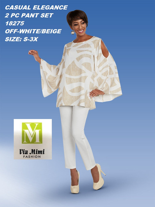 CASUAL ELEGANCE  STYLE #18275  2 PC PANT SET  COLOR: OFF-WHITE/BEIGE  SIZE: S-3X  FOR MORE IMFORMATION AND PRICE PLEASE GIVE US A CALL   WE BEAT  ALL PRICES !!!!  VIA MIMI FASHION  1333 S. SANTEE ST.  LA,CA.90015  TEL: (213)748-MIMI (6464)  FAX: (213)749-MIMI (6464)  E-Mail: mimi@viamimifashion.com  http://viamimifashion.com  https://www.facebook.com/viamimifashion    https://www.instagram.com/viamimifashion  https://twitter.com/viamimifashion