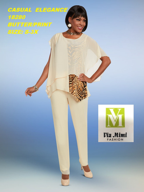 CASUAL ELEGANCE  STYLE #18280 -2 PC  PANT SET  COLOR:BUTTER/PRINT  SIZE: S-3X  FOR MORE IMFORMATION AND PRICE PLEASE GIVE US A CALL   WE BEAT  ALL PRICES !!!!  VIA MIMI FASHION  1333 S. SANTEE ST.  LA,CA.90015  TEL: (213)748-MIMI (6464)  FAX: (213)749-MIMI (6464)  E-Mail: mimi@viamimifashion.com  http://viamimifashion.com  https://www.facebook.com/viamimifashion    https://www.instagram.com/viamimifashion  https://twitter.com/viamimifashion