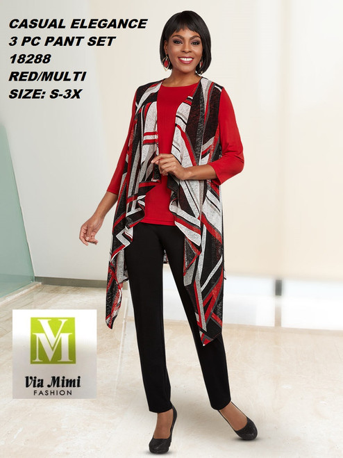 CASUAL ELEGANCE  STYLE #18288 -3 PC  PANT SET  COLOR: RED/MULTI  SIZE: S-3X  FOR MORE IMFORMATION AND PRICE PLEASE GIVE US A CALL   WE BEAT  ALL PRICES !!!!  VIA MIMI FASHION  1333 S. SANTEE ST.  LA,CA.90015  TEL: (213)748-MIMI (6464)  FAX: (213)749-MIMI (6464)  E-Mail: mimi@viamimifashion.com  http://viamimifashion.com  https://www.facebook.com/viamimifashion    https://www.instagram.com/viamimifashion  https://twitter.com/viamimifashion