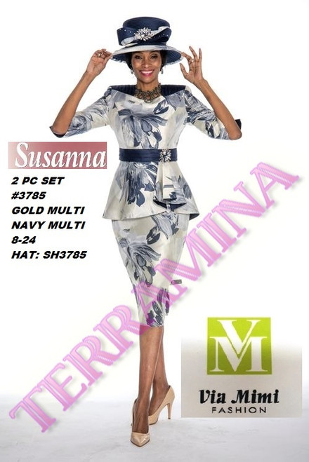 SUSANA STYLE #3785 - 2 PC SET  COLOR: GOLD MULTI, NAVY MULTI  SIZE: 8-24  HAT: SH3785  FOR MORE IMFORMATION AND PRICE PLEASE GIVE US A CALL   WE BEAT  ALL PRICES !!!!  VIA MIMI FASHION  1333 S. SANTEE ST.  LA,CA.90015  TEL: (213)748-MIMI (6464)  FAX: (213)749-MIMI (6464)  E-Mail: mimi@viamimifashion.com  http://viamimifashion.com  https://www.facebook.com/viamimifashion    https://www.instagram.com/viamimifashion  https://twitter.com/viamimifashion