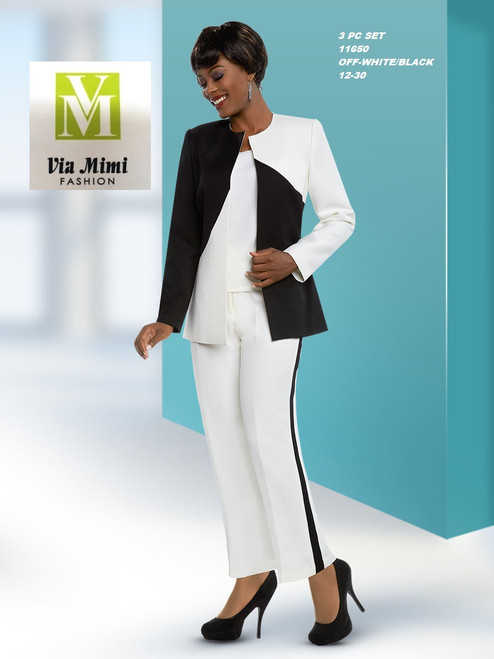 EXECUTIVE #11650__  3 PC PANT SET  COLOR: OFF-WHITE/BLACK  SIZE: 12-30   FOR MORE IMFORMATION AND PRICE PLEASE GIVE US A CALL   WE BEAT  ALL PRICES !!!!  VIA MIMI FASHION  1333 S. SANTEE ST.  LA,CA.90015  TEL: (213)748-MIMI (6464)  FAX: (213)749-MIMI (6464)  E-Mail: mimi@viamimifashion.com  http://viamimifashion.com  https://www.facebook.com/viamimifashion    https://www.instagram.com/viamimifashion  https://twitter.com/viamimifashion