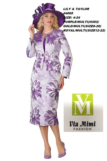 LILY & TAYLOR #4069 __  3 PC  SET  COLOR: PURPLE/MULTI,  GOLD/MULTI, ROYAL/MULTI  SIZE: 4-24  FOR MORE IMFORMATION AND PRICE PLEASE GIVE US A CALL   WE BEAT  ALL PRICES !!!!  VIA MIMI FASHION  1333 S. SANTEE ST.  LA,CA.90015  TEL: (213)748-MIMI (6464)  FAX: (213)749-MIMI (6464)  E-Mail: mimi@viamimifashion.com  http://viamimifashion.com  https://www.facebook.com/viamimifashion    https://www.instagram.com/viamimifashion  https://twitter.com/viamimifashion