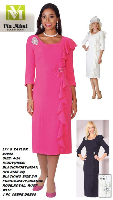 LILY & TAYLOR #3943__  1 PC CREPE DRESS  COLOR: IVORY, BLACK, FUCSHIA, BLACK/IVORY, NAVY, ORANGE, ROSE, ROYAL, RUST, WHITE  SIZE: 4-24  FOR MORE IMFORMATION AND PRICE PLEASE GIVE US A CALL   WE BEAT  ALL PRICES !!!!  VIA MIMI FASHION  1333 S. SANTEE ST.  LA,CA.90015  TEL: (213)748-MIMI (6464)  FAX: (213)749-MIMI (6464)  E-Mail: mimi@viamimifashion.com  http://viamimifashion.com  https://www.facebook.com/viamimifashion    https://www.instagram.com/viamimifashion  https://twitter.com/viamimifashion