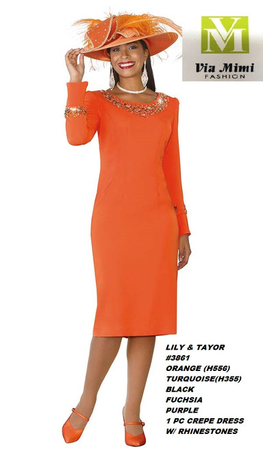 LILY TAYLOR #3861  ORANGE, TURQUOISE, BLACK, FUCHSIA, PURPLE / 1 PC CREPE DRESS W RHINESTONE