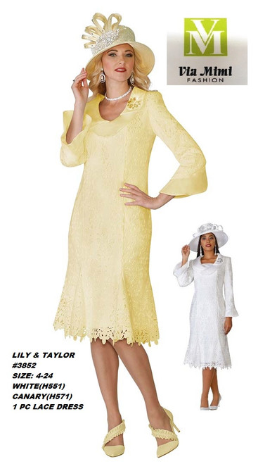 LILY & TAYLOR #3852__ 1 PC LACE DRESS  COLOR: WHITE, CANARY  SIZE: 4-24  FOR MORE IMFORMATION AND PRICE PLEASE GIVE US A CALL   WE BEAT  ALL PRICES !!!!  VIA MIMI FASHION  1333 S. SANTEE ST.  LA,CA.90015  TEL: (213)748-MIMI (6464)  FAX: (213)749-MIMI (6464)  E-Mail: mimi@viamimifashion.com  http://viamimifashion.com  https://www.facebook.com/viamimifashion    https://www.instagram.com/viamimifashion  https://twitter.com/viamimifashion