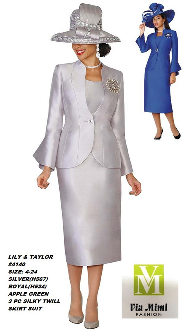 LILY & TAYLOR #4140__ 3 PC SILKY TWILL SUIT  COLOR: SILVER (H567), ROYAL(H524), APPLE GREEN   SIZE:4-24  FOR MORE IMFORMATION AND PRICE PLEASE GIVE US A CALL   WE BEAT  ALL PRICES !!!!  VIA MIMI FASHION  1333 S. SANTEE ST.  LA,CA.90015  TEL: (213)748-MIMI (6464)  FAX: (213)749-MIMI (6464)  E-Mail: mimi@viamimifashion.com  http://viamimifashion.com  https://www.facebook.com/viamimifashion    https://www.instagram.com/viamimifashion  https://twitter.com/viamimifashion