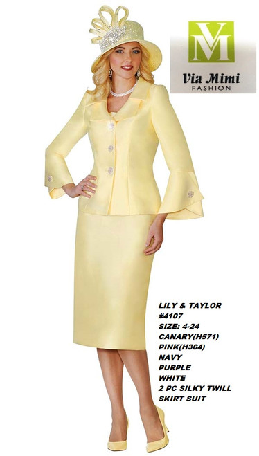 LILY & TAYLOR #4107__ 2 PC SILKY TWILL  SUIT  COLOR: CANARY(H571), PINK(H364), NAVY, PURPLE, WHITE  SIZE:4-24  FOR MORE IMFORMATION AND PRICE PLEASE GIVE US A CALL   WE BEAT  ALL PRICES !!!!  VIA MIMI FASHION  1333 S. SANTEE ST.  LA,CA.90015  TEL: (213)748-MIMI (6464)  FAX: (213)749-MIMI (6464)  E-Mail: mimi@viamimifashion.com  http://viamimifashion.com  https://www.facebook.com/viamimifashion    https://www.instagram.com/viamimifashion  https://twitter.com/viamimifashion