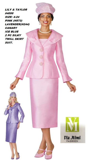 LILY & TAYLOR #4095__ 2 PC SILKY TWILL SUIT  COLOR: PINK(H573), LAVENDER(H244), CANARY, ICE BLUE  SIZE:4-24  FOR MORE IMFORMATION AND PRICE PLEASE GIVE US A CALL   WE BEAT  ALL PRICES !!!!  VIA MIMI FASHION  1333 S. SANTEE ST.  LA,CA.90015  TEL: (213)748-MIMI (6464)  FAX: (213)749-MIMI (6464)  E-Mail: mimi@viamimifashion.com  http://viamimifashion.com  https://www.facebook.com/viamimifashion    https://www.instagram.com/viamimifashion  https://twitter.com/viamimifashion
