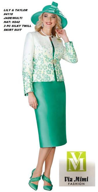 LILY & TAYLOR #4115__ 3 PC SILKY TWILL SUIT  COLOR: JADE/MULTI(H242)  SIZE:4-24  FOR MORE IMFORMATION AND PRICE PLEASE GIVE US A CALL   WE BEAT  ALL PRICES !!!!  VIA MIMI FASHION  1333 S. SANTEE ST.  LA,CA.90015  TEL: (213)748-MIMI (6464)  FAX: (213)749-MIMI (6464)  E-Mail: mimi@viamimifashion.com  http://viamimifashion.com  https://www.facebook.com/viamimifashion    https://www.instagram.com/viamimifashion  https://twitter.com/viamimifashion