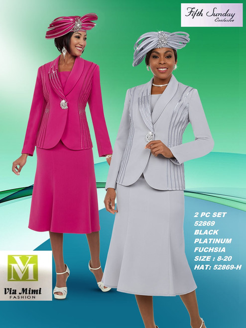 FIFTH SUNDAY #52869__ 2 PC SET  COLOR: BLACK, PLATINUM, FUCHSIA  SIZE : 8-20  HAT: 52869-H   FOR MORE IMFORMATION AND PRICE PLEASE GIVE US A CALL   WE BEAT  ALL PRICES !!!!  VIA MIMI FASHION  1333 S. SANTEE ST.  LA,CA.90015  TEL: (213)748-MIMI (6464)  FAX: (213)749-MIMI (6464)  E-Mail: mimi@viamimifashion.com  http://viamimifashion.com  https://www.facebook.com/viamimifashion    https://www.instagram.com/viamimifashion  https://twitter.com/viamimifashion