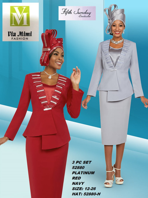 FIFTH SUNDAY #52880__ 3 PC SET  COLOR: PLATINUM, RED, NAVY  SIZE : 12-26  HAT: 52880-H  FOR MORE IMFORMATION AND PRICE PLEASE GIVE US A CALL   WE BEAT  ALL PRICES !!!!  VIA MIMI FASHION  1333 S. SANTEE ST.  LA,CA.90015  TEL: (213)748-MIMI (6464)  FAX: (213)749-MIMI (6464)  E-Mail: mimi@viamimifashion.com  http://viamimifashion.com  https://www.facebook.com/viamimifashion    https://www.instagram.com/viamimifashion  https://twitter.com/viamimifashion