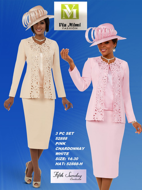 FIFTH SUNDAY #52888__ 3 PC SET  COLOR: PINK, CHARDONNAY, WHITE  SIZE : 14-30  HAT: 52888-H  FOR MORE IMFORMATION AND PRICE PLEASE GIVE US A CALL   WE BEAT  ALL PRICES !!!!  VIA MIMI FASHION  1333 S. SANTEE ST.  LA,CA.90015  TEL: (213)748-MIMI (6464)  FAX: (213)749-MIMI (6464)  E-Mail: mimi@viamimifashion.com  http://viamimifashion.com  https://www.facebook.com/viamimifashion    https://www.instagram.com/viamimifashion  https://twitter.com/viamimifashion