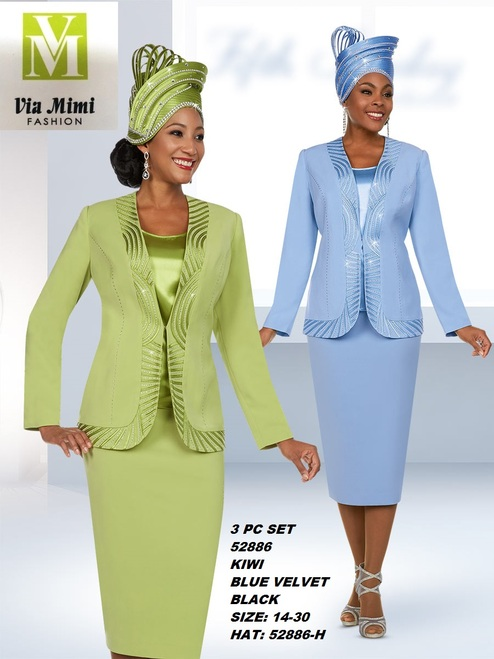 FIFTH SUNDAY #52886__ 3 PC SET  COLOR: KIWI, BLUE VELVET, BLACK  SIZE : 14-30  HAT: 52886-H  FOR MORE IMFORMATION AND PRICE PLEASE GIVE US A CALL   WE BEAT  ALL PRICES !!!!  VIA MIMI FASHION  1333 S. SANTEE ST.  LA,CA.90015  TEL: (213)748-MIMI (6464)  FAX: (213)749-MIMI (6464)  E-Mail: mimi@viamimifashion.com  http://viamimifashion.com  https://www.facebook.com/viamimifashion    https://www.instagram.com/viamimifashion  https://twitter.com/viamimifashion