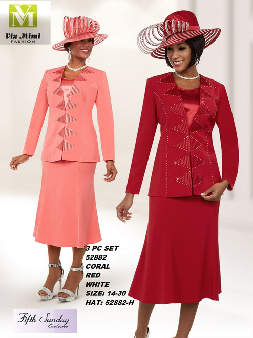 FIFTH SUNDAY #52882__ 3 PC SET  COLOR: CORAL, RED, WHITE  SIZE: 14-30  HAT: 52882-H  FOR MORE IMFORMATION AND PRICE PLEASE GIVE US A CALL   WE BEAT  ALL PRICES !!!!  VIA MIMI FASHION  1333 S. SANTEE ST.  LA,CA.90015  TEL: (213)748-MIMI (6464)  FAX: (213)749-MIMI (6464)  E-Mail: mimi@viamimifashion.com  http://viamimifashion.com  https://www.facebook.com/viamimifashion    https://www.instagram.com/viamimifashion  https://twitter.com/viamimifashion