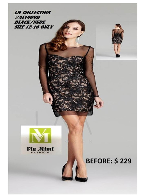 LM COLLECTION #AL1909B  BLACK/NUDE SIZE 12,16 ONLY SPECIAL PRICE $199.00 !!!