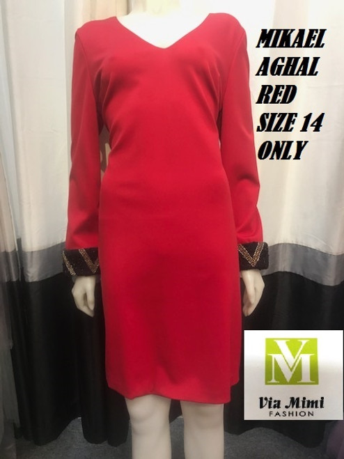 MIKAEL AGHAL RED SIZE 14 ONLY !!!  FOR MORE IMFORMATION AND PRICE PLEASE GIVE US A CALL   WE BEAT  ALL PRICES !!!!  VIA MIMI FASHION  1333 S. SANTEE ST.  LA,CA.90015  TEL: (213)748-MIMI (6464)  FAX: (213)749-MIMI (6464)  E-Mail: mimi@viamimifashion.com  http://viamimifashion.com  https://www.facebook.com/viamimifashion    https://www.instagram.com/viamimifashion  https://twitter.com/viamimifashion