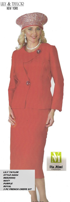 LILY TAYLOR STYLE #4024/3 PC FRENCH CREPE  SUIT !!  COLOR: RED (550), NAVY, PURPLE, ROYAL   SIZE: 4-24  FOR PRICE AND MORE IMFORMATION  PLEASE GIVE US A CALL   WE BEAT  ALL PRICES !!!!  VIA MIMI FASHION  1333 S. SANTEE ST.  LA,CA.90015  TEL: (213)748-MIMI (6464)  FAX: (213)749-MIMI (6464)  E-Mail: mimi@viamimifashion.com  http://viamimifashion.com  https://www.facebook.com/viamimifashion    https://www.instagram.com/viamimifashion  https://twitter.com/viamimifashion