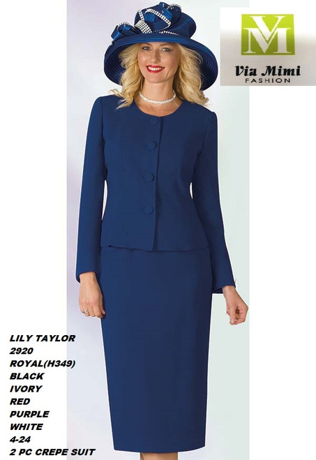 LILY & TAYLOR STYLE #2920  COLOR: BLACK , RED, ROYAL, IVORY, PURPLE, WHITE   SIZE : 4-24  3 PC CREPE SUIT  FOR PRICE AND MORE IMFORMATION  PLEASE GIVE US A CALLL    WE BEAT  ALL PRICES !!!!  VIA MIMI FASHION  1333 S. SANTEE ST.  LA,CA.90015  TEL: (213)748-MIMI (6464)  FAX: (213)749-MIMI (6464)  E-Mail: mimi@viamimifashion.com  http://viamimifashion.com  https://www.facebook.com/viamimifashion    https://www.instagram.com/viamimifashion  https://twitter.com/viamimifashion.