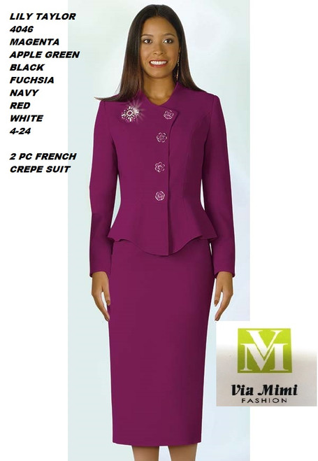 LILY & TAYLOR STYLE #4046  COLOR: MAGENTA, APPLE GREEN, BLACK, FUCHSIA, NAVY, RED, WHITE    SIZE : 4-24  3 PC FRENCH  CREPE SUIT  FOR PRICE AND MORE IMFORMATION  PLEASE GIVE US A CALLL    WE BEAT  ALL PRICES !!!!  VIA MIMI FASHION  1333 S. SANTEE ST.  LA,CA.90015  TEL: (213)748-MIMI (6464)  FAX: (213)749-MIMI (6464)  E-Mail: mimi@viamimifashion.com  http://viamimifashion.com  https://www.facebook.com/viamimifashion    https://www.instagram.com/viamimifashion  https://twitter.com/viamimifashion.