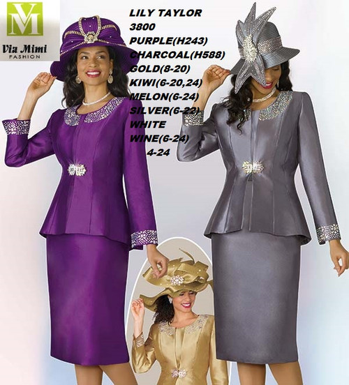 LILY & TAYLOR STYLE #3800  COLOR: PURPLE, CHARCOAL, GOLD, KIWI, MELON, SILVER, WHITE, WINE  SIZE: 4-24   3 PC SILKY TWILL  SUIT  FOR PRICE AND MORE IMFORMATION  PLEASE GIVE US A CALLL    WE BEAT  ALL PRICES !!!!  VIA MIMI FASHION  1333 S. SANTEE ST.  LA,CA.90015  TEL: (213)748-MIMI (6464)  FAX: (213)749-MIMI (6464)  E-Mail: mimi@viamimifashion.com  http://viamimifashion.com  https://www.facebook.com/viamimifashion    https://www.instagram.com/viamimifashion  https://twitter.com/viamimifashion.