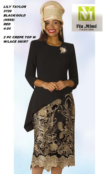 LILY & TAYLOR STYLE #3720  COLOR: BLACK/GOLD (H555)  SIZE: 4-24  2 PC CREPE TOP W/LACE SKIRT  FOR PRICE AND MORE IMFORMATION  PLEASE GIVE US A CALLL    WE BEAT  ALL PRICES !!!!  VIA MIMI FASHION  1333 S. SANTEE ST.  LA,CA.90015  TEL: (213)748-MIMI (6464)  FAX: (213)749-MIMI (6464)  E-Mail: mimi@viamimifashion.com  http://viamimifashion.com  https://www.facebook.com/viamimifashion    https://www.instagram.com/viamimifashion  https://twitter.com/viamimifashion.