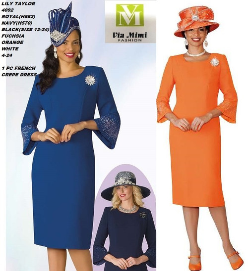 LILY & TAYLOR STYLE #4092  COLOR: BLACK, ORANGE, NAVY, ROYAL, WHITE, FUCHSIA  SIZE: 4-24  1 PC  FRENCH CREPE DRESS  FOR PRICE AND MORE IMFORMATION  PLEASE GIVE US A CALLL    WE BEAT  ALL PRICES !!!!  VIA MIMI FASHION  1333 S. SANTEE ST.  LA,CA.90015  TEL: (213)748-MIMI (6464)  FAX: (213)749-MIMI (6464)  E-Mail: mimi@viamimifashion.com  http://viamimifashion.com  https://www.facebook.com/viamimifashion    https://www.instagram.com/viamimifashion  https://twitter.com/viamimifashion.
