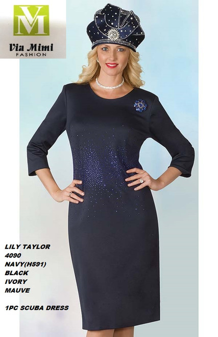 LILY & TAYLOR STYLE #4090  COLOR: IVORY, MAUVE, BLACK, NAVY  SIZE: 4-24  1 PC SCUBA  DRESS  FOR PRICE AND MORE IMFORMATION  PLEASE GIVE US A CALLL    WE BEAT  ALL PRICES !!!!  VIA MIMI FASHION  1333 S. SANTEE ST.  LA,CA.90015  TEL: (213)748-MIMI (6464)  FAX: (213)749-MIMI (6464)  E-Mail: mimi@viamimifashion.com  http://viamimifashion.com  https://www.facebook.com/viamimifashion    https://www.instagram.com/viamimifashion  https://twitter.com/viamimifashion.