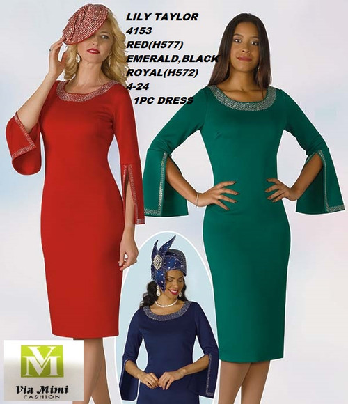 LILY & TAYLOR STYLE #4153  COLOR: ROYAL, EMERALD, BLACK, RED  SIZE: 4-24  1 PC PONTE KNIT   DRESS  FOR PRICE AND MORE IMFORMATION  PLEASE GIVE US A CALLL    WE BEAT  ALL PRICES !!!!  VIA MIMI FASHION  1333 S. SANTEE ST.  LA,CA.90015  TEL: (213)748-MIMI (6464)  FAX: (213)749-MIMI (6464)  E-Mail: mimi@viamimifashion.com  http://viamimifashion.com  https://www.facebook.com/viamimifashion    https://www.instagram.com/viamimifashion  https://twitter.com/viamimifashion.