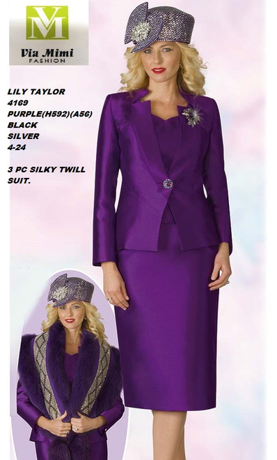LILY & TAYLOR STYLE #4169  COLOR: PURPLE (H592)(A56), BLACK, SILVER  SIZE: 4-24  3 PC SILKY TWILL  SUIT  FOR PRICE AND MORE IMFORMATION  PLEASE GIVE US A CALLL    WE BEAT  ALL PRICES !!!!  VIA MIMI FASHION  1333 S. SANTEE ST.  LA,CA.90015  TEL: (213)748-MIMI (6464)  FAX: (213)749-MIMI (6464)  E-Mail: mimi@viamimifashion.com  http://viamimifashion.com  https://www.facebook.com/viamimifashion    https://www.instagram.com/viamimifashion  https://twitter.com/viamimifashion.
