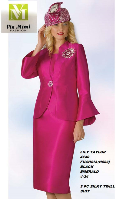 LILY & TAYLOR STYLE #4140  COLOR: FUCHSIA (H586) , BLACK, EMERALD  SIZE: 4-24  3 PC SILKY TWILL  SUIT  FOR PRICE AND MORE IMFORMATION  PLEASE GIVE US A CALLL    WE BEAT  ALL PRICES !!!!  VIA MIMI FASHION  1333 S. SANTEE ST.  LA,CA.90015  TEL: (213)748-MIMI (6464)  FAX: (213)749-MIMI (6464)  E-Mail: mimi@viamimifashion.com  http://viamimifashion.com  https://www.facebook.com/viamimifashion    https://www.instagram.com/viamimifashion  https://twitter.com/viamimifashion.