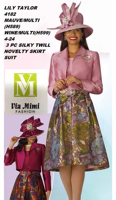 LILY & TAYLOR STYLE #4182  COLOR: MAUVE/MULTI(H589), WINE/MULTI(H599)  SIZE: 4-24  3 PC SILKY TWILL  SUIT  FOR PRICE AND MORE IMFORMATION  PLEASE GIVE US A CALLL    WE BEAT  ALL PRICES !!!!  VIA MIMI FASHION  1333 S. SANTEE ST.  LA,CA.90015  TEL: (213)748-MIMI (6464)  FAX: (213)749-MIMI (6464)  E-Mail: mimi@viamimifashion.com  http://viamimifashion.com  https://www.facebook.com/viamimifashion    https://www.instagram.com/viamimifashion  https://twitter.com/viamimifashion.