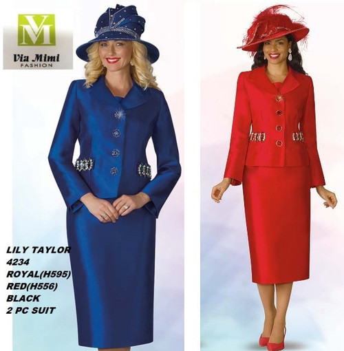 LILY & TAYLOR STYLE #4234  COLOR: ROYAL(595), RED(H556), BLACK  SIZE: 4-24  3 PC SILKY TWILL  SUIT  FOR PRICE AND MORE IMFORMATION  PLEASE GIVE US A CALLL    WE BEAT  ALL PRICES !!!!  VIA MIMI FASHION  1333 S. SANTEE ST.  LA,CA.90015  TEL: (213)748-MIMI (6464)  FAX: (213)749-MIMI (6464)  E-Mail: mimi@viamimifashion.com  http://viamimifashion.com  https://www.facebook.com/viamimifashion    https://www.instagram.com/viamimifashion  https://twitter.com/viamimifashion.