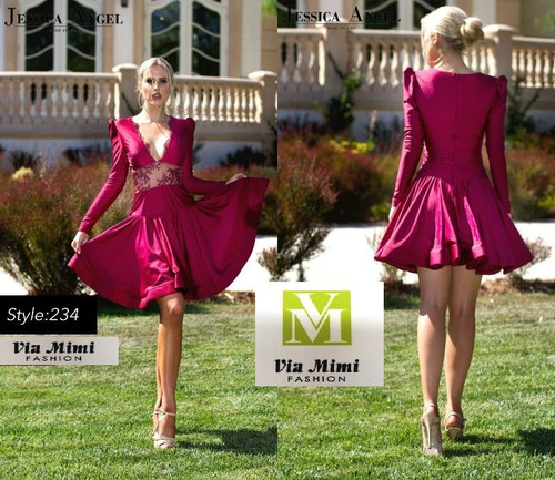 JESSICA  ANGEL  COLLECTION STYLE 234  SHORT DRESS / LONG SLEEVE