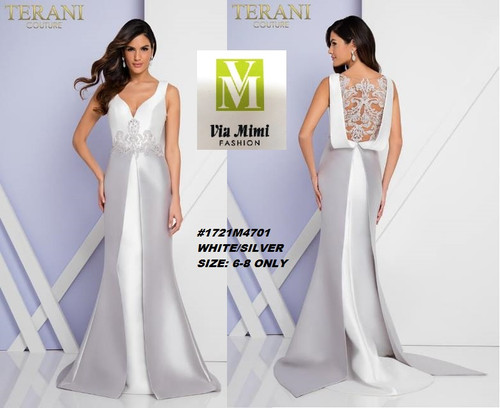 TERANI COUTURE STYLE #1721M4701  COLOR: WHITE/SILVER  SIZE: 6-8 ONLY  FOR PRICE AND MORE IMFORMATION  PLEASE GIVE US A CALL   WE BEAT  ALL PRICES !!!!  VIA MIMI FASHION  1333 S. SANTEE ST.  LA,CA.90015  TEL: (213)748-MIMI (6464)  FAX: (213)749-MIMI (6464)  E-Mail: mimi@viamimifashion.com  http://viamimifashion.com  https://www.facebook.com/viamimifashion    https://www.instagram.com/viamimifashion  https://twitter.com/viamimifashion