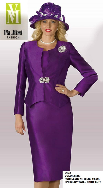 LILY&TAYLOR #3632 - COLOR/SIZE: PURPLE (H374) (SIZE: 10-20) - 3PC SILKY TWILL SKIRT SUIT