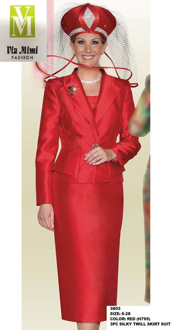 LILY&TAYLOR #3803 - SIZE: 6-28 - COLOR: RED (H795) - 3PC SILKY TWILL SKIRT SUIT