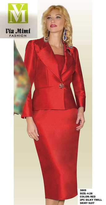 LILY&TAYLOR #3809 - SIZE: 4-28 - COLOR: RED - 2PC SILKY TWILL SKIRT SUIT