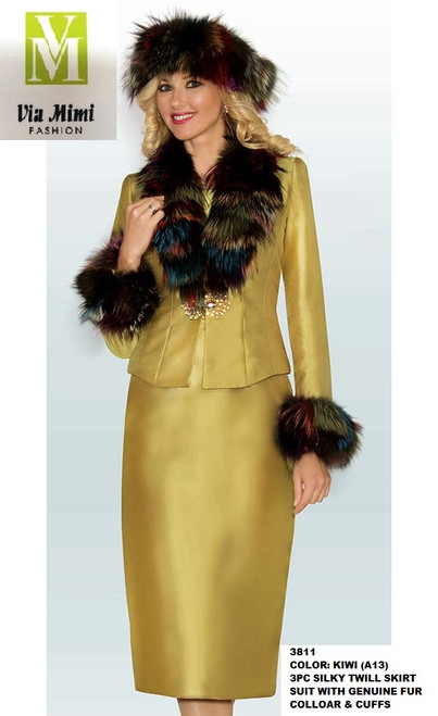 LILY&TAYLOR #3811 - COLOR: KIWI (A13) - 3PC SILKY TWILL SKIRT SUIT WITH GENUINE FUR COLLOAR & CUFFS
