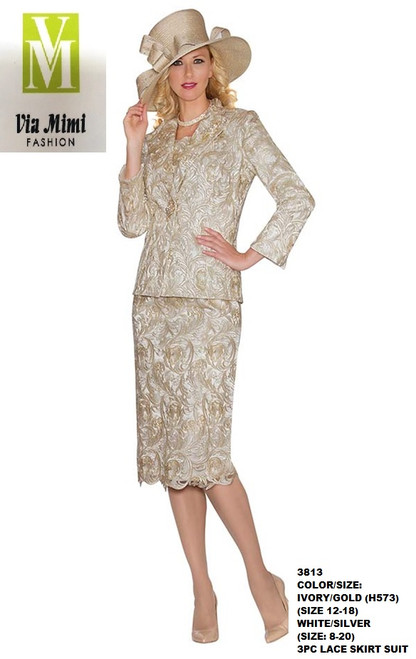 LILY&TAYLOR #3813 - COLOR/SIZE:  IVORY/GOLD (H573) (SIZE: 12-18) - WHITE/SILVER (SIZE 8-20) - 3PC LACE SKIRT SUIT