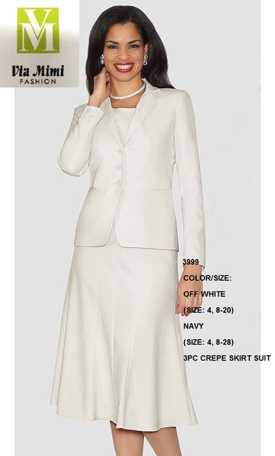LILY&TAYLOR #3999 - COLOR/SIZE: OFF WHITE (SIZE: 4, 8-20) - NAVY (SIZE: 4, 8-28) - 3PC  CREPE SKIRT SUIT