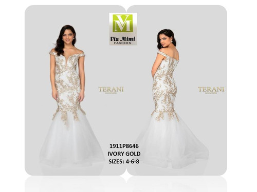 TERANI - 1911P8108 - SIZES: 4-6-8 - COLOR: IVORY GOLD  SPECIAL PRICE!!! $275.00