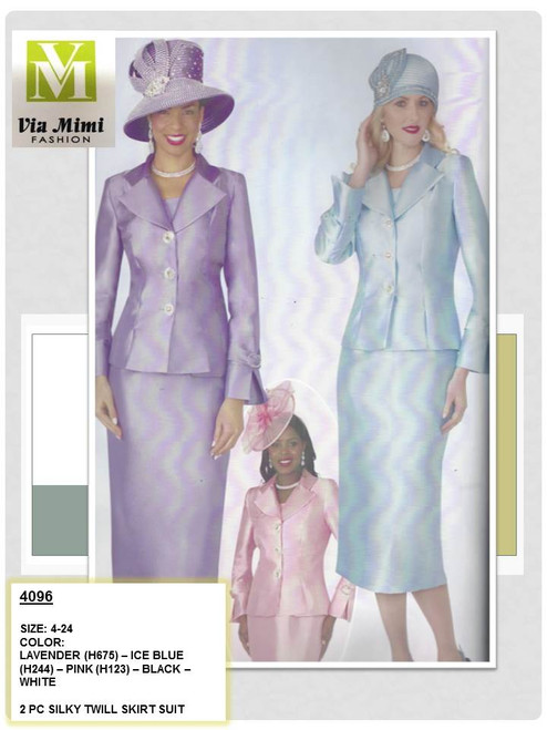 LILY & TAYLOR - 4096 - 2PC SILKY TWILL SKIRT SUIT - SIZES: 4-24 - COLORS: LAVENDER (H675) - ICE BLUE (H244) - PINK (H123) - BLACK - WHITE