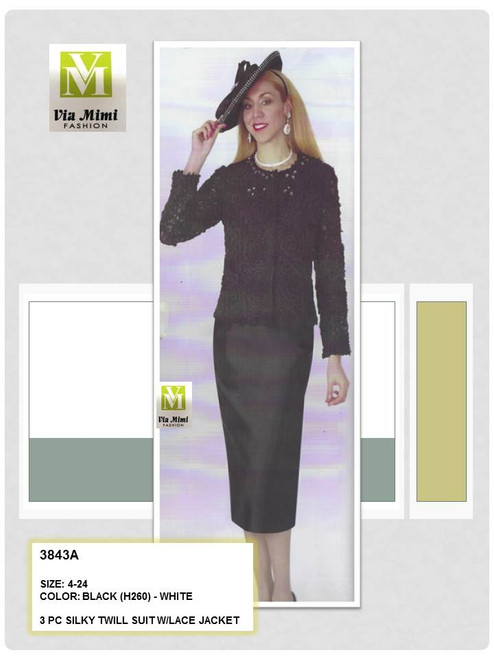 LILY & TAYLOR - 3843A - 3PC SILKY TWILL SUIT W/LACE JACKET - SIZES: 4-24 - COLORS: BLACK (H260) - WHITE