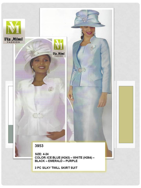 LILY & TAYLOR - 3953 - 3PC SILKY TWILL SKIRT SUIT - SIZES: 4-24 - COLORS: ICE BLUE (H243) - WHITE (H264) - BLACK - EMERALD - PURPLE