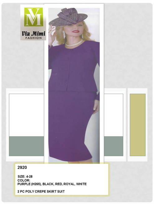 LILY & TAYLOR - 2920 - 2PC POLY CREPE SKIRT SUIT - SIZES: 4 -28 - COLORS: PURPLE (H265) - BLACK - RED - ROYAL - WHITE