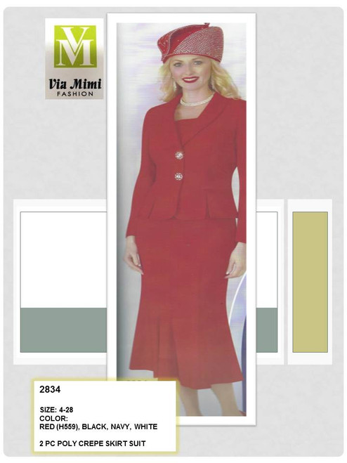 LILY & TAYLOR - 2834 - 2PC POLY CREPE SKIRT SUIT - SIZES: 4-28 - COLORS: RED (H559) - BLACK - NAVY - WHITE