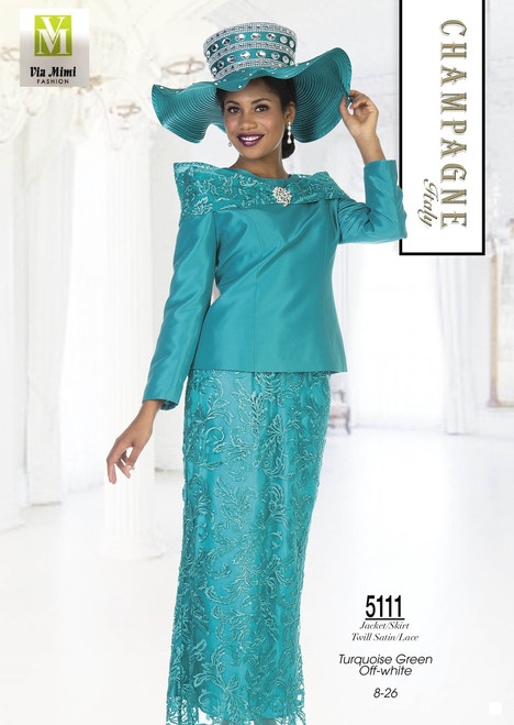 CHAMPAGNE - 5111 - JACKET/SKIRT - TWILL SATIN/LACE -SIZES: 8-26 - TURQUOISE GREEN, OFF-WHITE